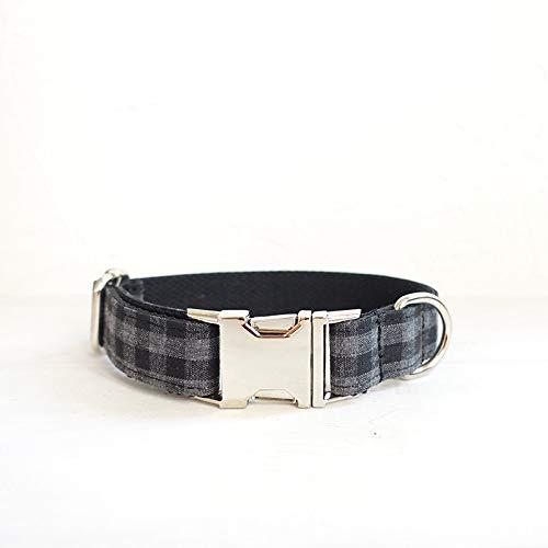 YXZQ Collar para Perros al Aire Libre Información:Característica:Nota: For Dog Decoration (Color : Black Plaid, Size : Customized)