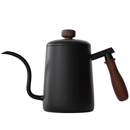 コーヒー ドリップ ポット 550ML コーヒーポット 直火 コーヒーケトル スケール 蓋付き ドリップポット 細口 珈琲 木柄 ステンレス製 ブラック