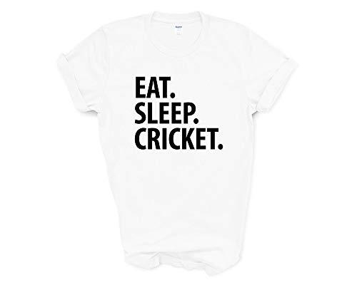 Fellow Friends - Cricket T-Shirt, Eat Sleep Cricket Shirt Mens Womens Gifts Medium White