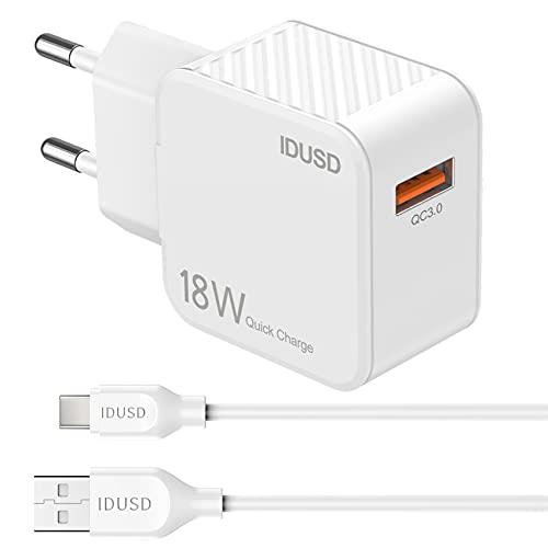 IDUSD Cargador Carga Rápida Quick Charge 3.0, Salida de un Puerto 18W 3A con Cable de Carga Tipo C para Samsung S21 S20+, Xiaomi Redmi 10 Note 9 Mi 11Mi 9 Mi 8, Huawei P40 P30, Realme, LG, TCL