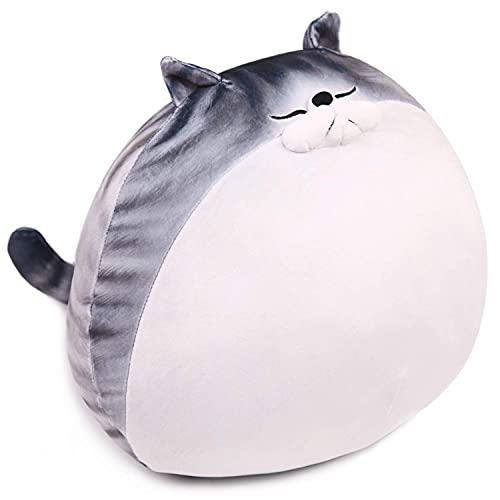 ARELUX Cute Chubby Cat Plush, Soft Kawaii Kitty Hugging Pillow Anime Squishy Stuffed Animal, Funny Toy Plushies for Kids, Gifts for Halloween, Christmas