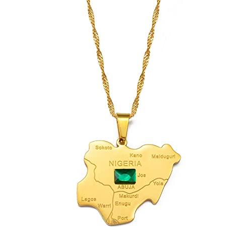 Minekkyes Mapa de Nigeria con Collares Pendientes de Piedra Verde Color Dorado Mapas nigerianos Joyería Regalo patriótico 60Cm