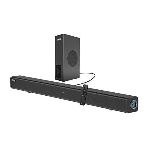 Barras de sonido para TV con subwoofer, COSOOS 60W 33.5' 2.1 canales barra de sonido, Bluetooth 5.0, pantalla de visualización, control remoto, sistema de cine en casa, soporte óptico digital, RCA, AUX, USB, montaje en pared