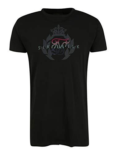 Sik Silk Camiseta Negra Piedras Brillantes L