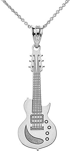 LKLFC Collar para Mujer Collar para Hombre Colgante de Plata de Ley Guitarra Instrumento Musical Personalizado Collar de Guitarra eléctrica con tu Nombre Collar Colgante Regalo para niñas niños
