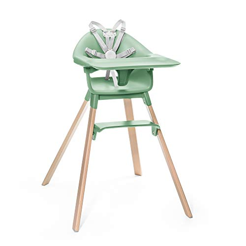 Stokke Clikk High Chair, Clover Green - All-In-One High Chair with Tray + Harness - Light, Durable & Travel Friendly - Ergonomic with Adjustable Features - Best for 6-36 Months or Up to 33 lbs