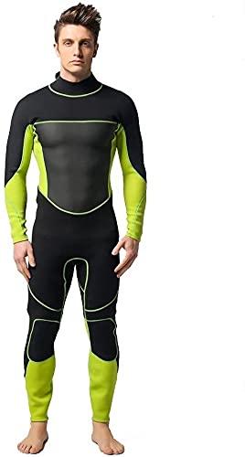 Traje de neopreno Moda Hombres surf traje de surf traje de hombre 3mm neopreno verde con traje de buceo negro Ropa de surf Cálido frío. (Color : A, Size : S)