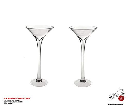 Homedelight 2x 60cm Martini Glas Vase Tisch Mittelpunkt Hochzeit Dekorationen