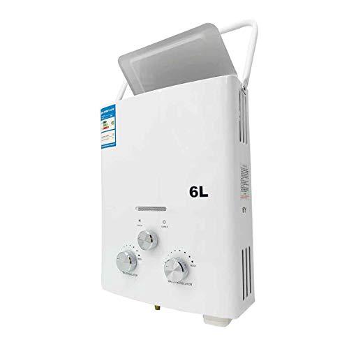 Cozyel 6L Gas-Durchlauferhitzer Propangas-Warmwasserbereiter, 6 l, tragbar, Tankless Instant - Camping-Gasdusche für den Außenbereich mit Duschkopf