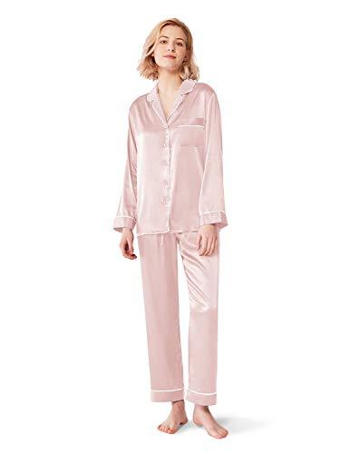 SIORO Womens Silk Pajamas Soft Long Satin Sleepwear Ladies Pajama Sets Button Down Loungewear Pyjamas Suit, Shell Pink, Large