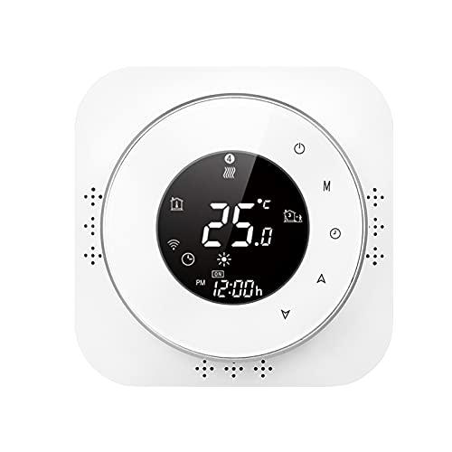 ZIEM Termostato inteligente con Wi-Fi de 95-240 V, 5 + 1 + 1, termostato programable de seis períodos, control de aplicación de voz, retroiluminación LCD, termorregulador de calefacción de caldera,