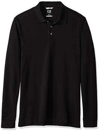 Cutter & Buck Men's 35+UPF, Long Sleeve Advantage Polo Shirt, Black, Large