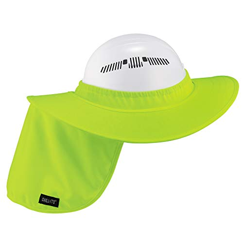 Ergodyne Chill-Its 6660 Attachable Hard Hat Brim with Neck Shade, Lime