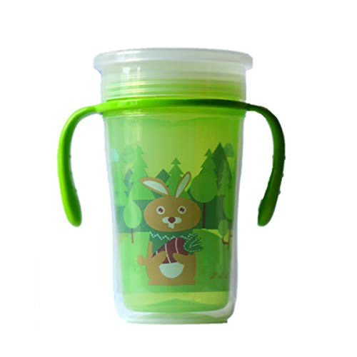 Baby Bucket 360° Degree Magic Spotless Transition Sippy/Sipper Cup with Handle for Baby/Toddlers (12m+) 100% BPA Free   Anti-Leak   Light Weight. -200ml – [Green]