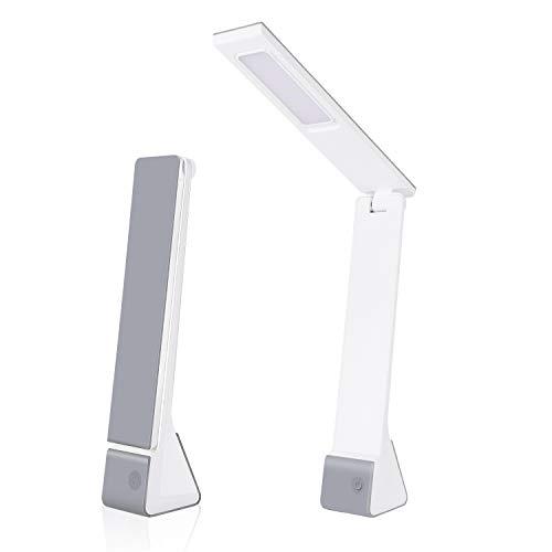 Lámpara de escritorio LED con batería recargable, 4 W, luz de mesa portátil, brillo regulable de 3 niveles, luces de lectura de control sensible al tacto, para niños, estudio, oficina, dormitorio