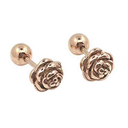 1 par de pendientes de tuerca de acero de titanio rosa flor redonda bola de tornillo de tuerca pendientes de metal joyería para hombres mujeres - oro