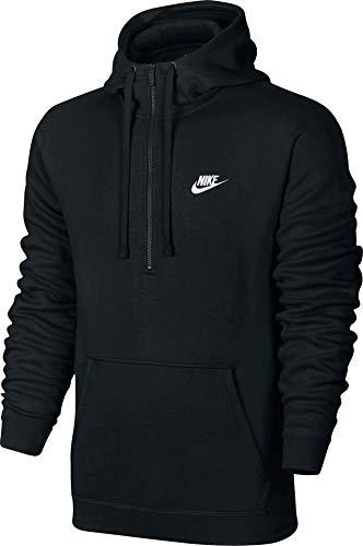Nike Herren Club Half Zip Fleece Hoody, Black/White, S