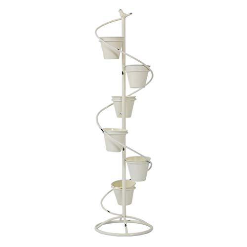 CHGDFQ Soporte de Flores Retro de múltiples Capas de Hierro Forjado Americano, Escalera de Caracol de pie Maceta Estante Florería Decoración de balcón, Alto 113cm (Color : White)