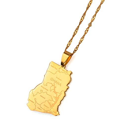 Con nombre de estado, mapa de país de Ghana, collares con colgante de encanto, Color dorado, regalos de joyería de Ghana