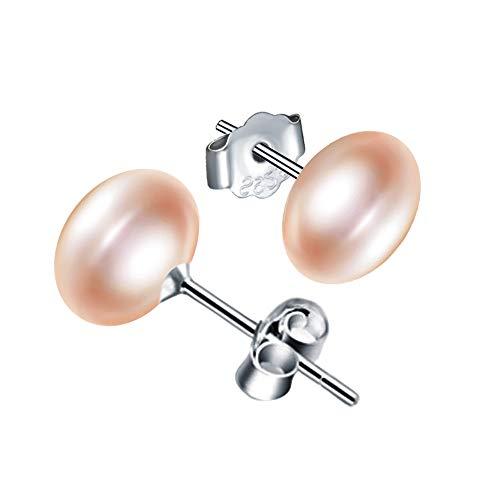 Yumilok-Pendientes de Perlas Rosa, en Plata 925, Arete para Mujer Niña, Regalo de Cumpleaños de Navidad
