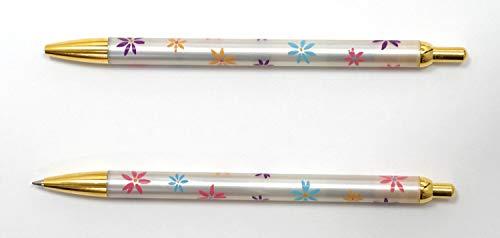 日本製 真鍮パーツ花柄ボールペン 5本パック P6-HS380B-5