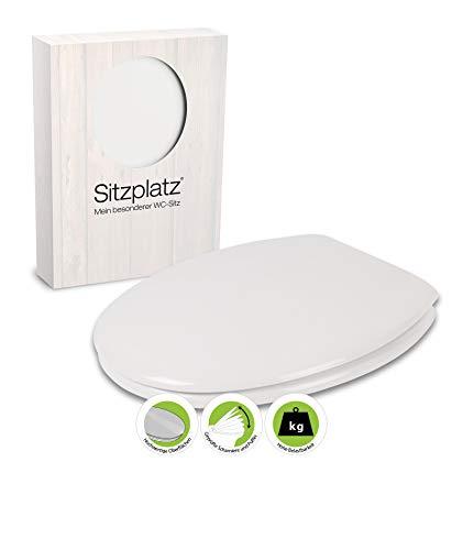 SITZPLATZ® WC-Sitz Zamora in Weiß, mit robustem Holzkern & Edelstahl-Scharnieren, Toilettendeckel in universaler O Form, ovale Klobrille und Klodeckel, Weiß, 40610 9