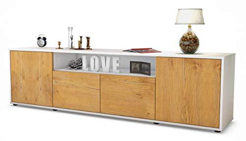 Stil.Zeit TV Schrank Lowboard Arianna, Korpus in Weiss matt/Front im Holz-Design Eiche (180x49x35cm), mit Push-to-Open Technik, Made in Germany