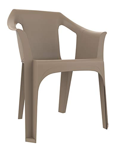 resol Cool sillón Silla con Brazos de plástico para jardín Exterior terraza - Color Arena, Set de 4 Unidades