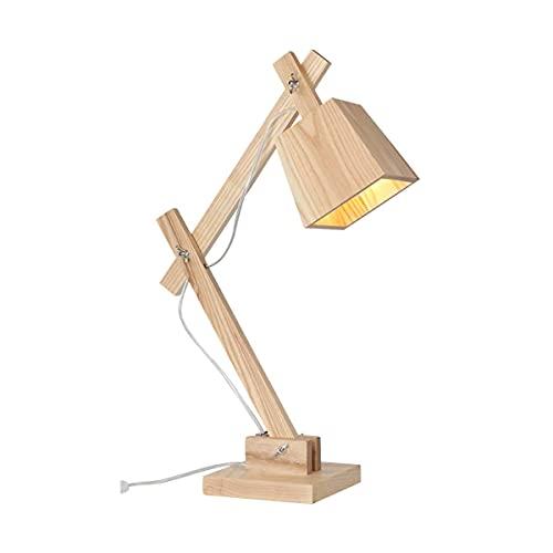 Verstelbare slaapkamer nachtkastje lamp moderne decoratieve leeslamp met houten lampenkap en voet creatieve indoor bureauverlichting voor woonkamer kantoor hotel