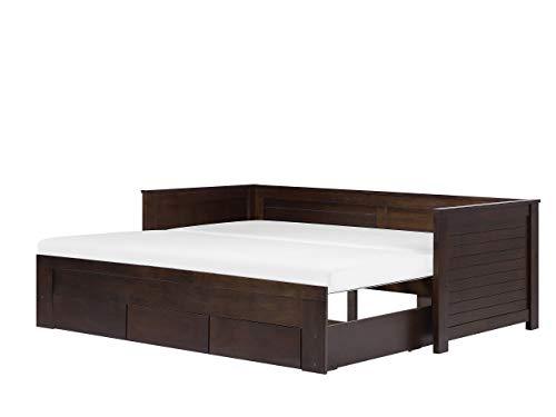 Beliani Klassisches Tagesbett ausziehbar Gummibaumholz Dunkelbraun Cahors