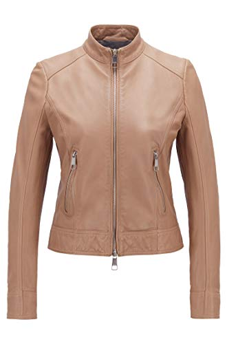 BOSS Womens Jabelia Leather Jacket, Medium Beige (262), 42