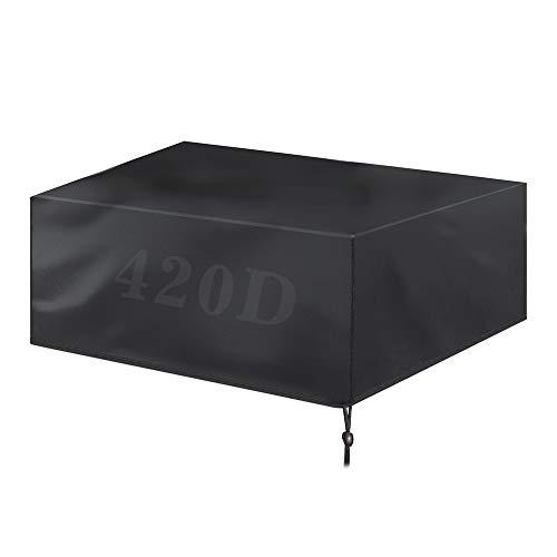 WFQ, copertura impermeabile per mobili da giardino per sedie da tavolo, sedie in rattan, copertura rettangolare per patio 420D Oxford nero, 200 x 160 x 70 cm