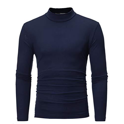 Camiseta Térmica Cuello Alto de los Hombres Manga Larga T Shirt Pulóver de Invierno Delgado