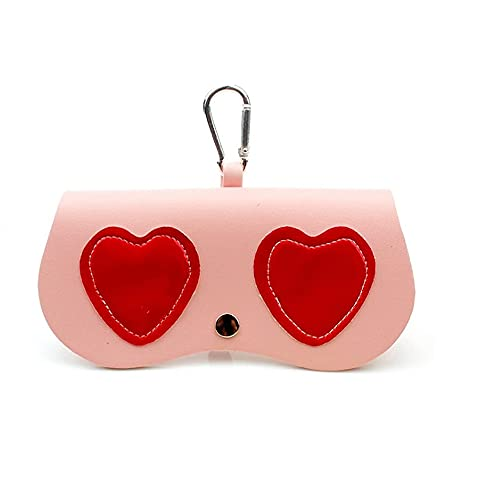 TTCPUYSA Stylish Slip-in Eyeglasses Holder,Portable Sunglasses Holder Clip on The Backpack,Cute Cartoon Soft Shell Protective Eyeglasses Case for Traveling, Shopping, Beach (Red Heart)