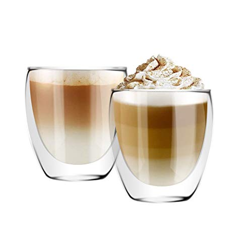[6-Pack,8.5 Oz] DESIGN•MASTER - Premium Double Wall Insulated Glass, Coffee or Tea Glass Mugs, Thermo Insulated Glass, Perfect for Latte, Cappuccino, Americano, Tea and Beverage