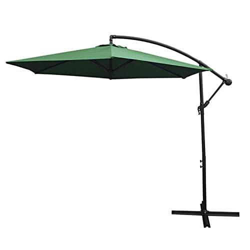 3m Cantilever Garden Parasol Banana Hanging Umbrella Winding Crank Shade...
