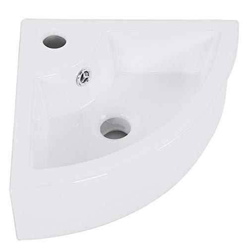 Lavabo de Esquina Moderno para baño Lavabo Triangular pequeño de cerámica sobre encimera Lavabo de rincón Recipiente de encimera Cisterna de baño Montaje en Pared Guardarropa Blanco co