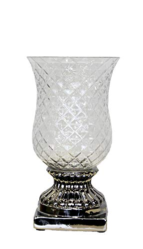 Keyhomestore Vaso Diamanti Argento Ideale Come Decorazione - 40x22 cm