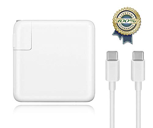 Mac Book Pro Charger, 61W USB-C to USB-C AC Power Adapter Charger Replacement for MacBook Pro 13-inch,12-inch, MacBook Air 2018 with Type-C Charging Cable