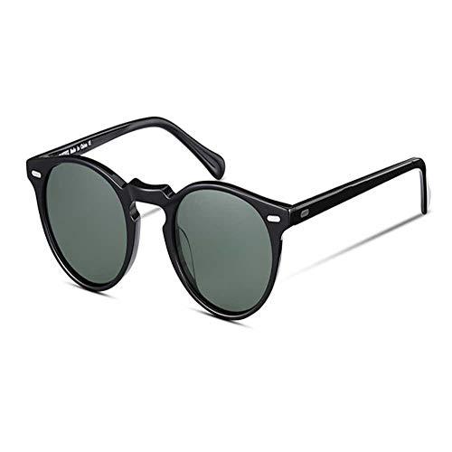 Gafas de sol polarizadas redondas retro para hombres y mujeres con funda vintage para conducción al aire libre