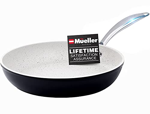 Mueller HealthyStone 12-Inch Fry Pan, Heavy Duty Non-Stick German Stone Coating Cookware, Aluminum Body, Even Heat Distribution, No PFOA or APEO, EverCool Stainless Steel Handle, Black
