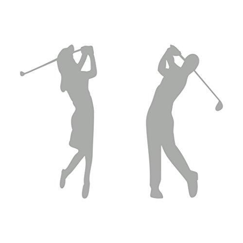 Golferin und Golfer Aufkleber Autoaufkleber 2 Stück (Silber)