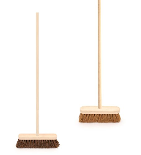 Twin Pack of Traditional Wooden Sweeping Brushes - Stiff Outdoor Yard Sweeping Brush and Soft Coco Broom...