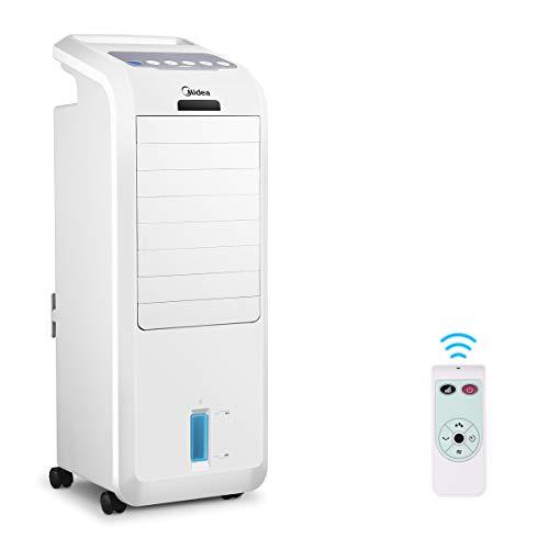 MIDEA AC100-16BR 2-in-1 Luftkühler Luftbefeuchter mit Fernbedienung, 5L Wassertank, 3 Geschwindigkeiten, 7 Stunden Timer, Kühlluftsystem-Standgebläse, Mobile Klimaanlage