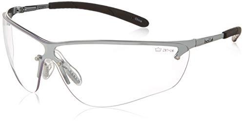 Bollé seguridad 253-SM-40073 Silium gafas con Metal plateado + TPE parcialmente sin montura marco y lente transparente