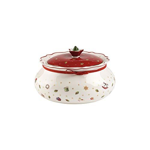 Villeroy & Boch Toy\'s Delight Mittelgroße Vorratsdose, Premium Porzellan, Weiß/Rot