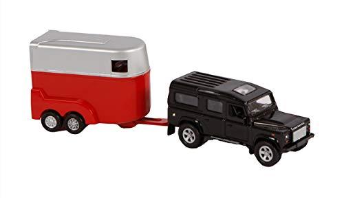 Kids 521712 - Globe Traffic Landrover Defender mit Pferdeanhänger (Spielset, Pferdetransporter) mit Rückzugsmotor, Set mit 2 Pferden Transporter und Fahrzeug, Auto, 25 cm