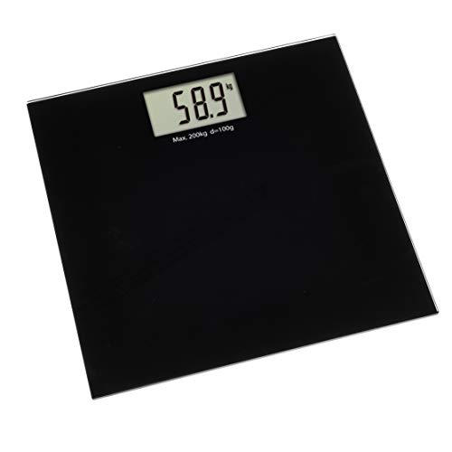 TFA Dostmann Digitale Waage Step Plus, Personenwaage, bis 200kg, Schlichtes Design, schwarz, Kunststoff, Trittfläche aus gehärtetem Glas, (L) (B) 320 x (H) 22 mm