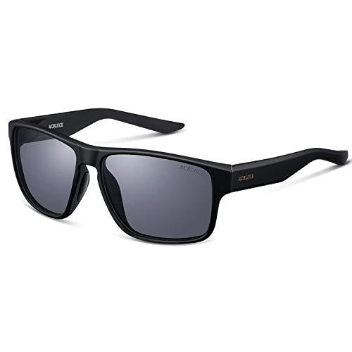 ACBLUCE Polarized Sports Sunglasses for Men Women UV Protection TR90 for Baseball Driving Running Cycling Fishing Golf (Matte Black Frame|Grey Lense)