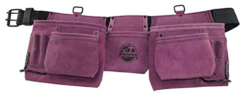 """Graintex DS2035 11 Pocket Professional Work Apron Purple Color Suede Leather with 2"""" Leather/Webbing Belt, 2 Hammer Holders for Constructors, Electricians, Plumbers, Handymen"""